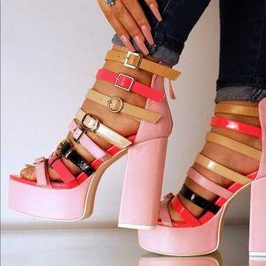 Pink chunky heeled platforms